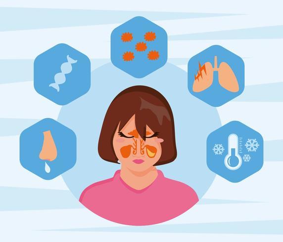 Cara de mujeres gratis con vector de la enfermedad de la sinusitis