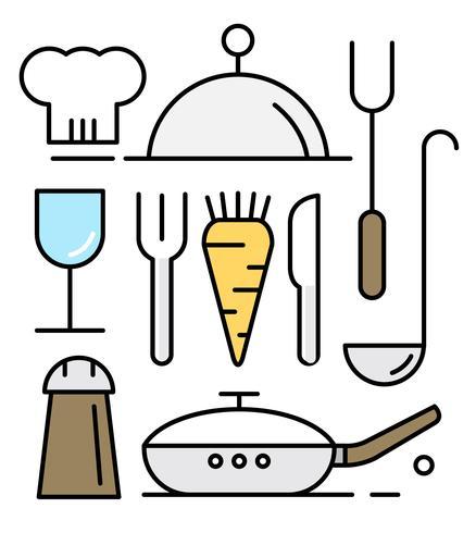 Vektorer av köksredskap i minimal designstil