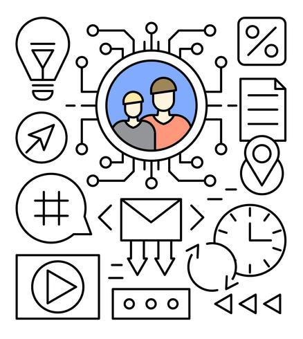 Free Linear Social Media Vector Illustration