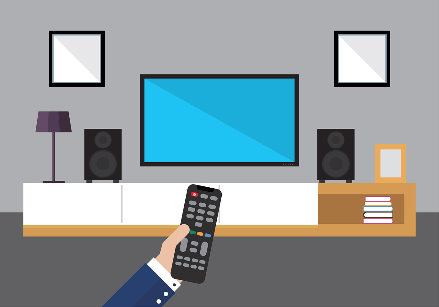 Hand With Tv Remote Free Vector Download Free Vector Art