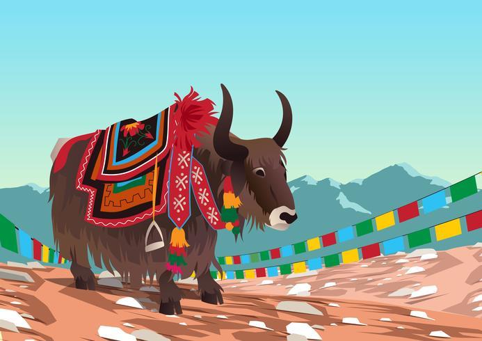 Tibetanischer Yak-Vektor