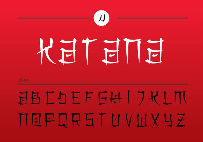 Japanesse Letters Katana Free Vector