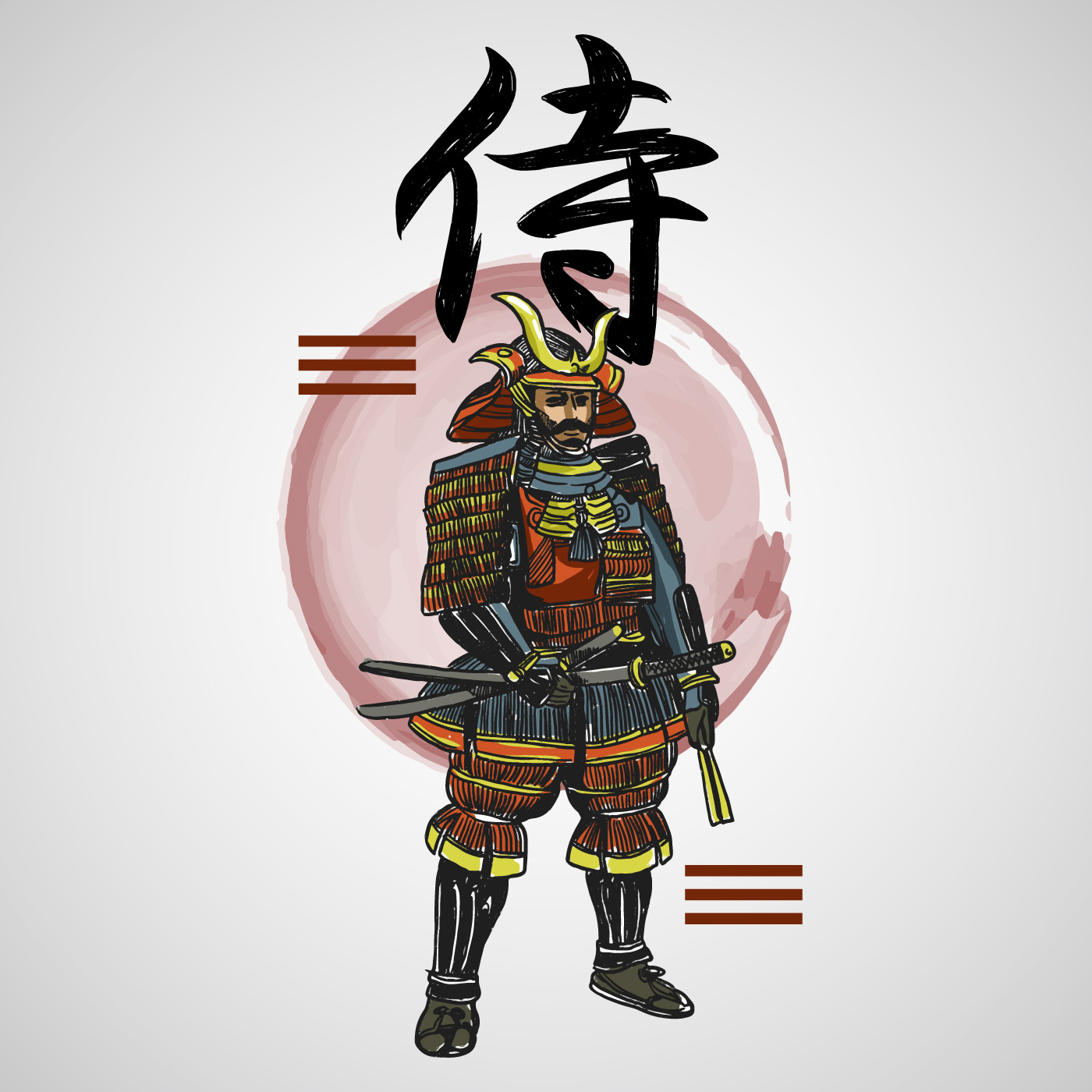 Japanese Letters Samurai With Abstract Element Vector ...