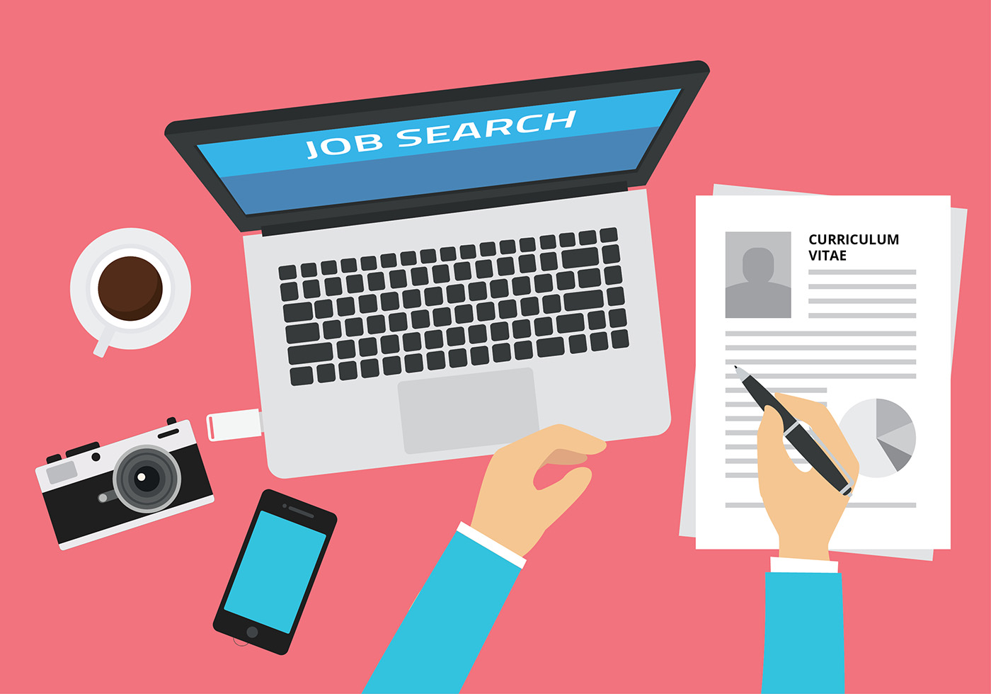 Job Search Illustration Free Vector Download Free