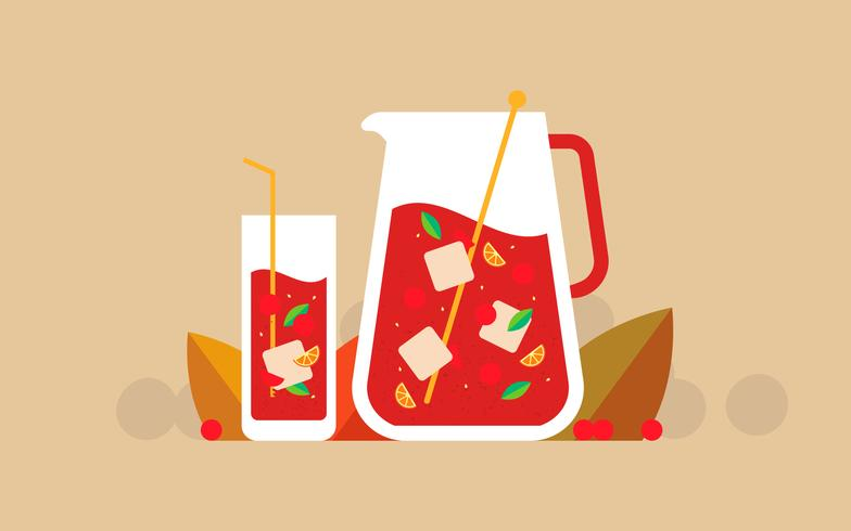 Cranberries Juice Illustration Style plat vecteur