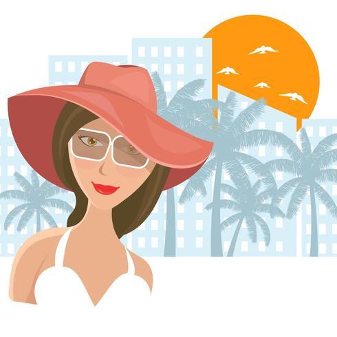 Kvinna Panama hatt på stranden vektorn