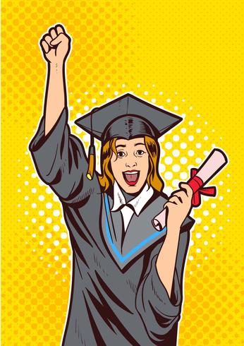 Excited Young Girl with Diploma Vector