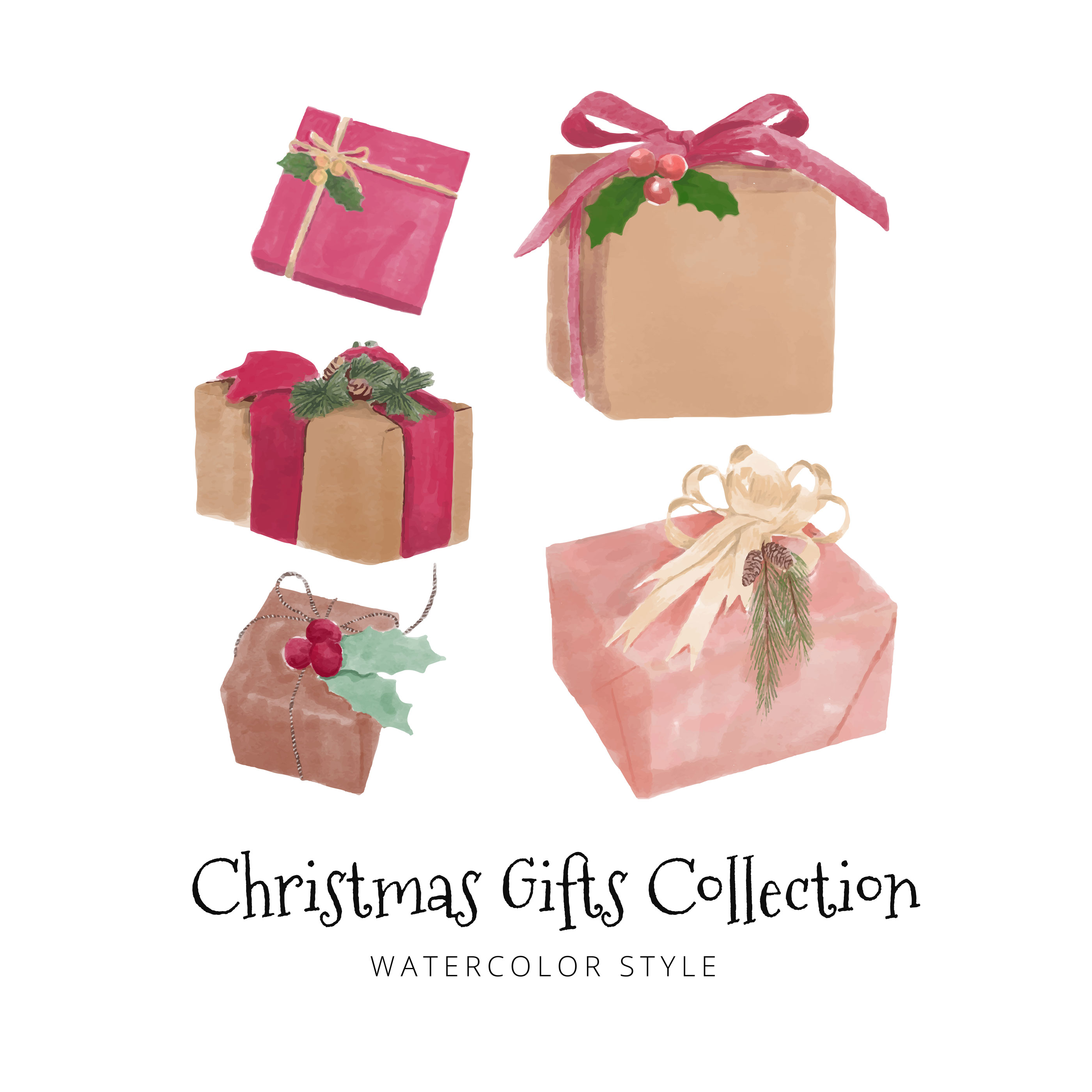 Watercolor Christmas Gifts Set Collection - Download Free Vector Art ...
