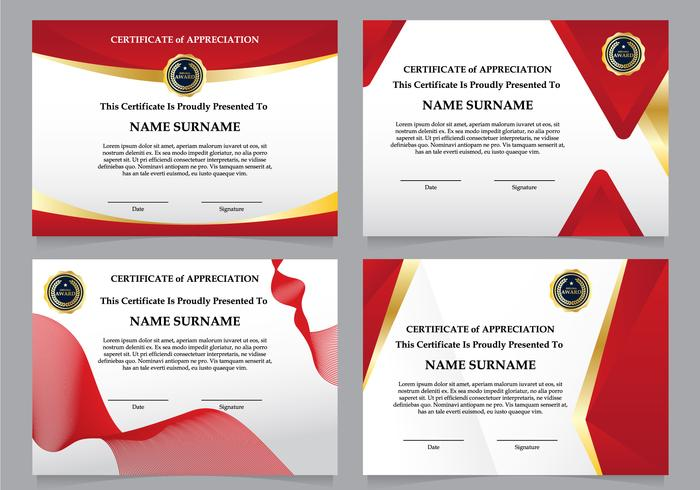 Luxury Red Diploma Certificate Set