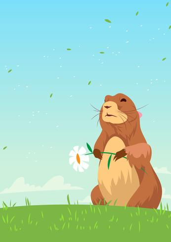 Springtime Gopher with Flower Vector