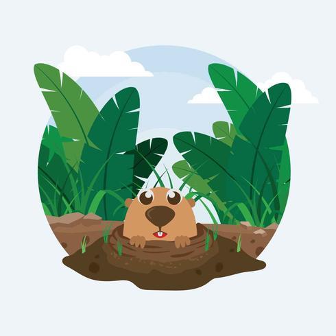 Free Gopher Inside Hole Illustration