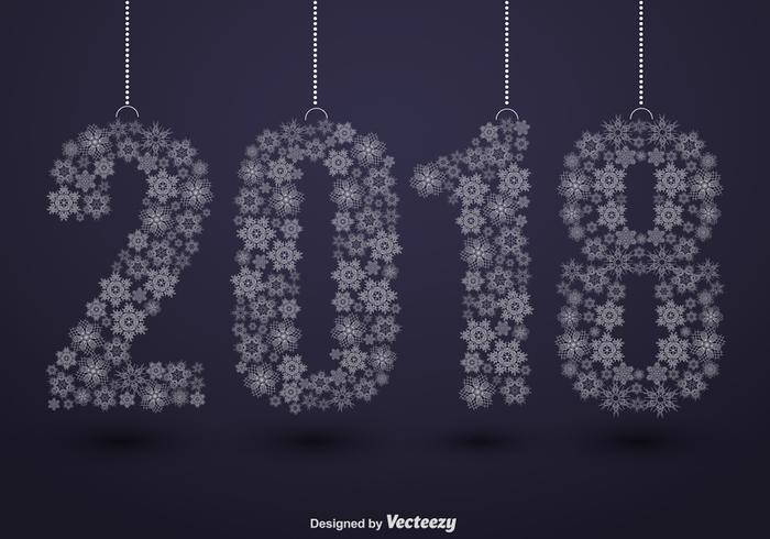 2018 Frohes Neues Jahr Illustration Und Schneeflocken
