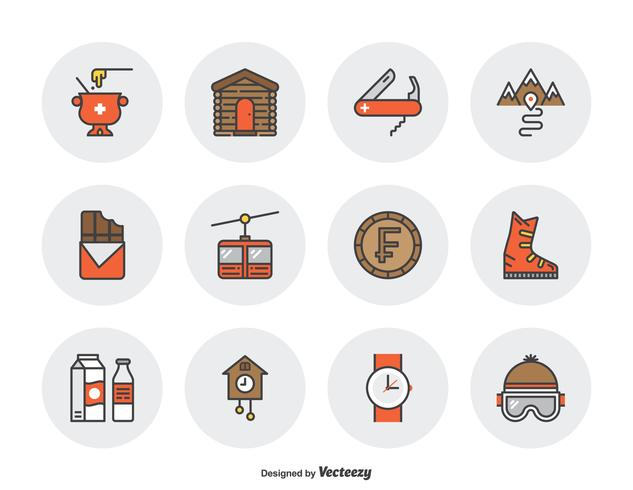 Switzerland Culture Filled Outline Icons vector