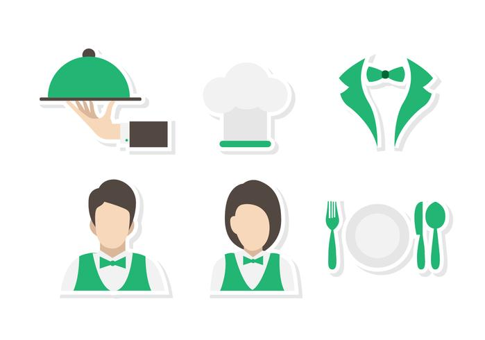 Flat Canteen Waiter and Waitress Vectors