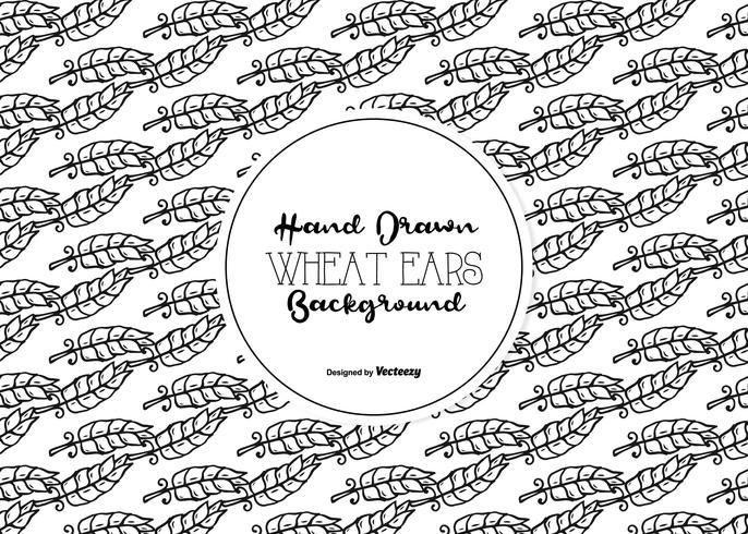 Seamless Hand Drawn Wheat Ear Vector Pattern