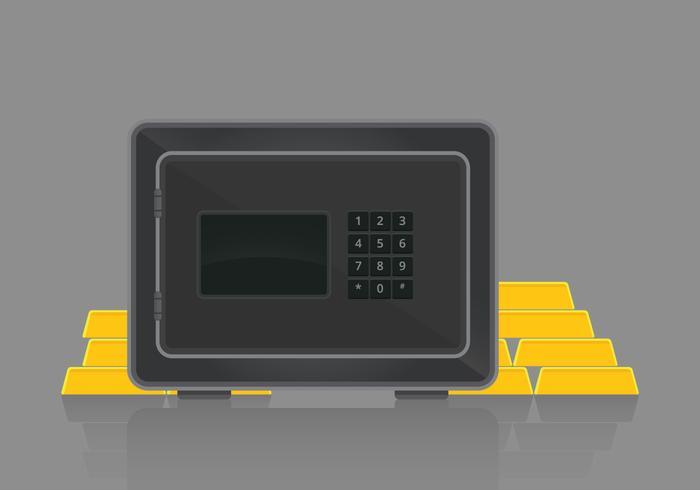 Strongbox illustration. Bank kassaskåp med pengar illustration.
