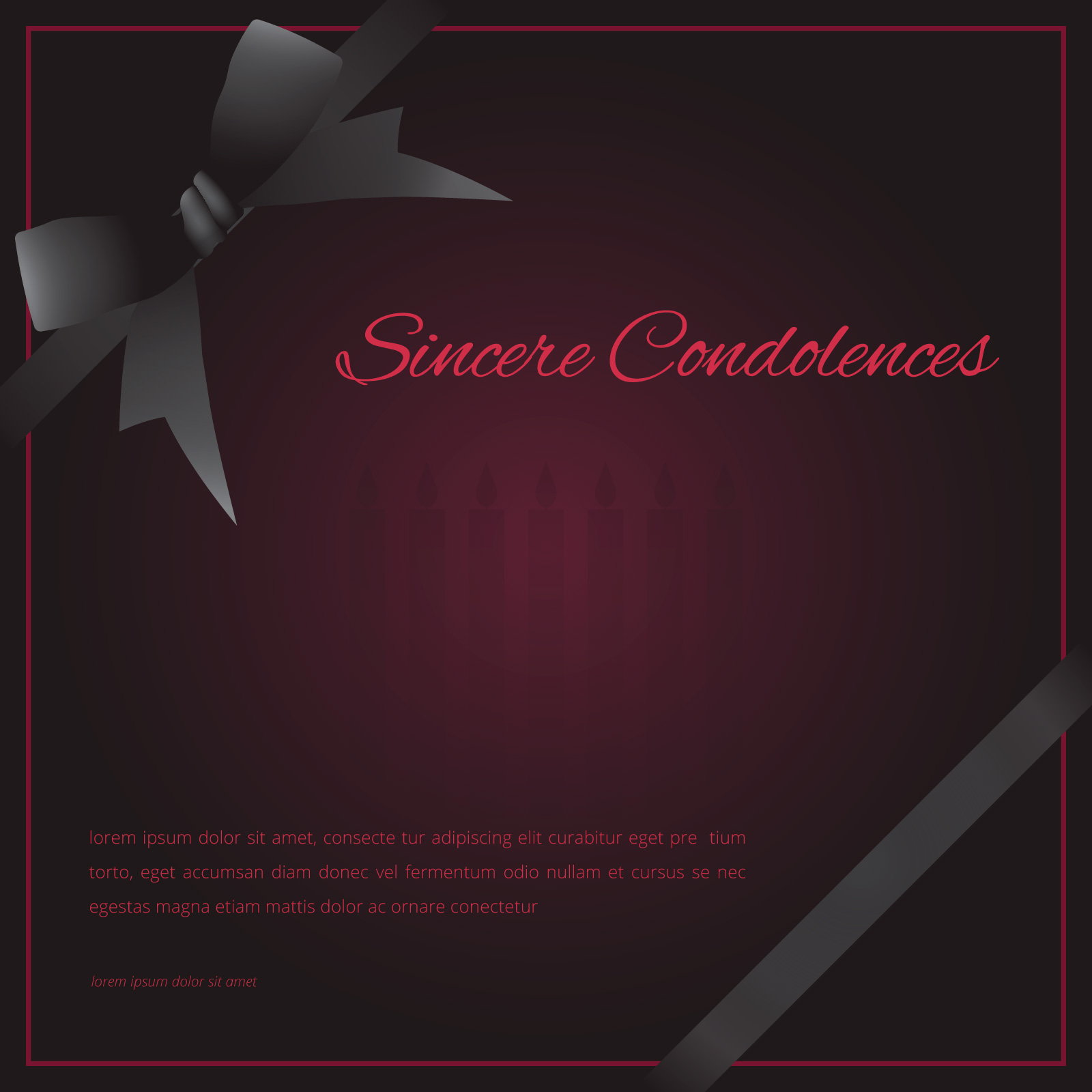 Elegant funeral card with black ribbon editable template greetings elegant funeral card with black ribbon kristyandbryce Images