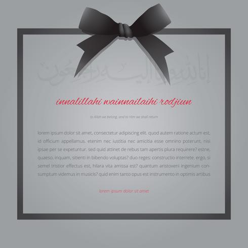 Elegant Islamic Funeral Card with Black Ribbon.