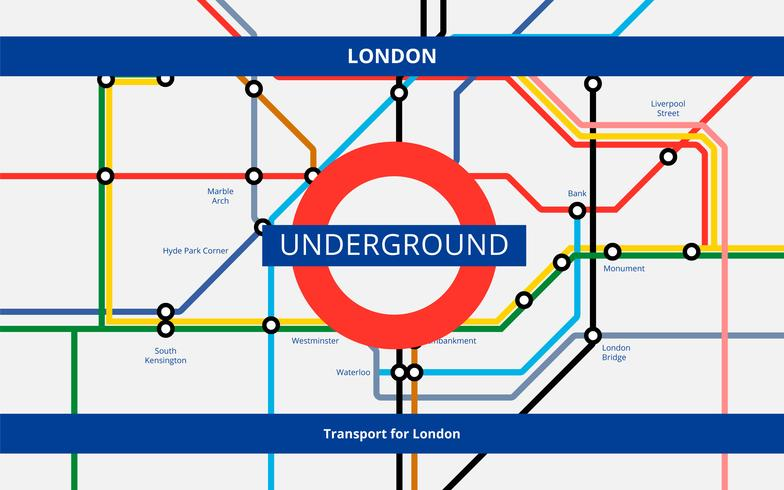 Tube Map London Transportation. Underground Railway.