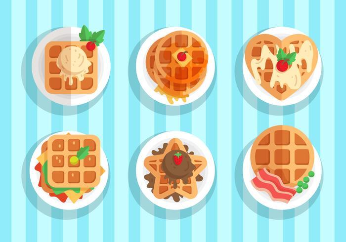 Waffle Cake Vector Item Sets