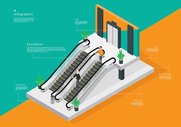 Isometric Escalator Vector Stock