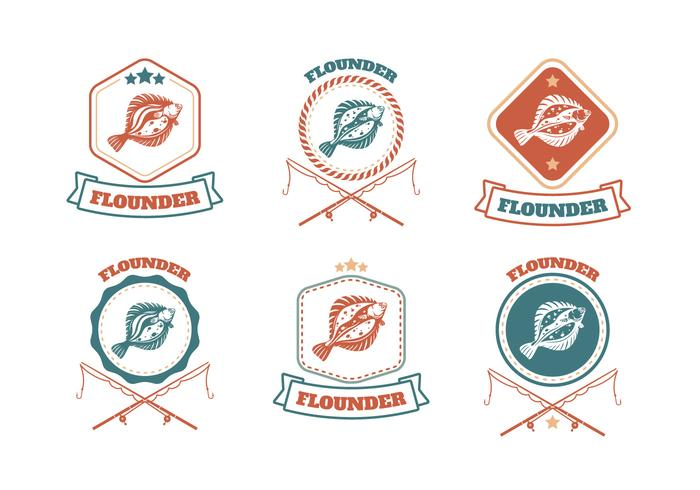 Flounder Fish Badge Vector Collection