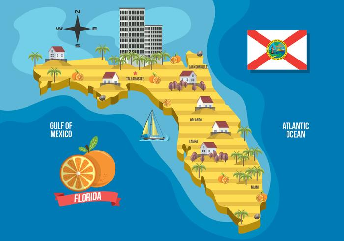 Florida On A Map.Florida Map With Landmark Vector Illustration Download Free Vector