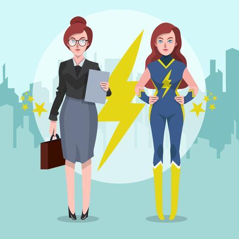 Superwoman Karaktär Vektor Illustration