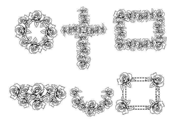 Gravure Rose Vector-elementen