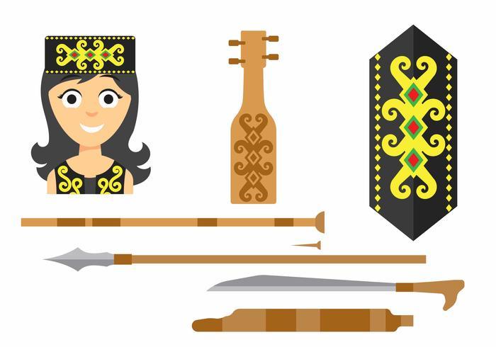 Women Dayak Vector Icons