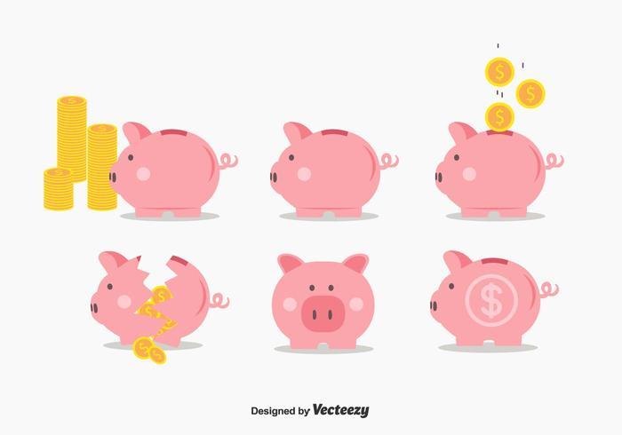 Piggy Bank Vector Set