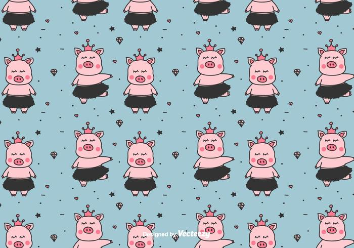 Little Ballerinas Pigs Vector Pattern