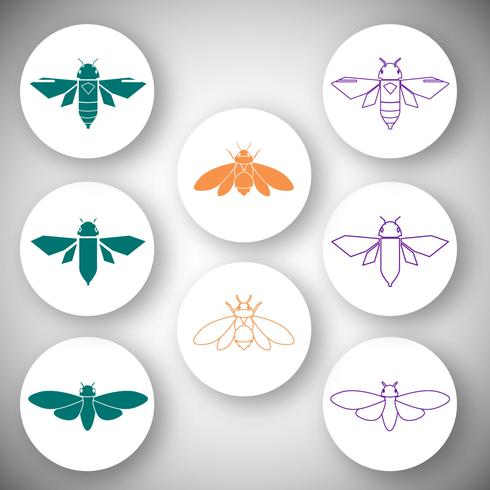 Cicada icon vector set
