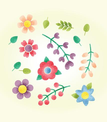 Free Textured Flowers Vector
