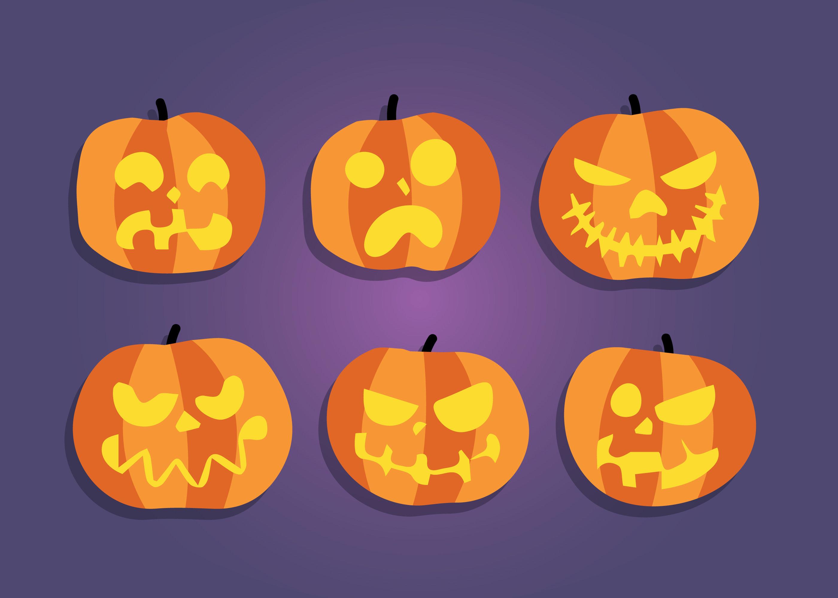 free scary halloween pumpkins vector
