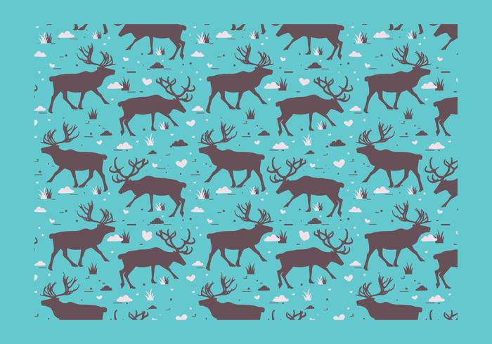 Caribou Silhouette Pattern Vector
