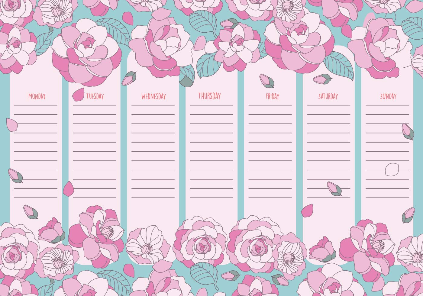 lindo calendario semanal imprimible para imprimir
