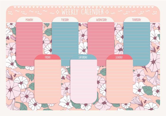 Utskriftsbar veckokalendervektor