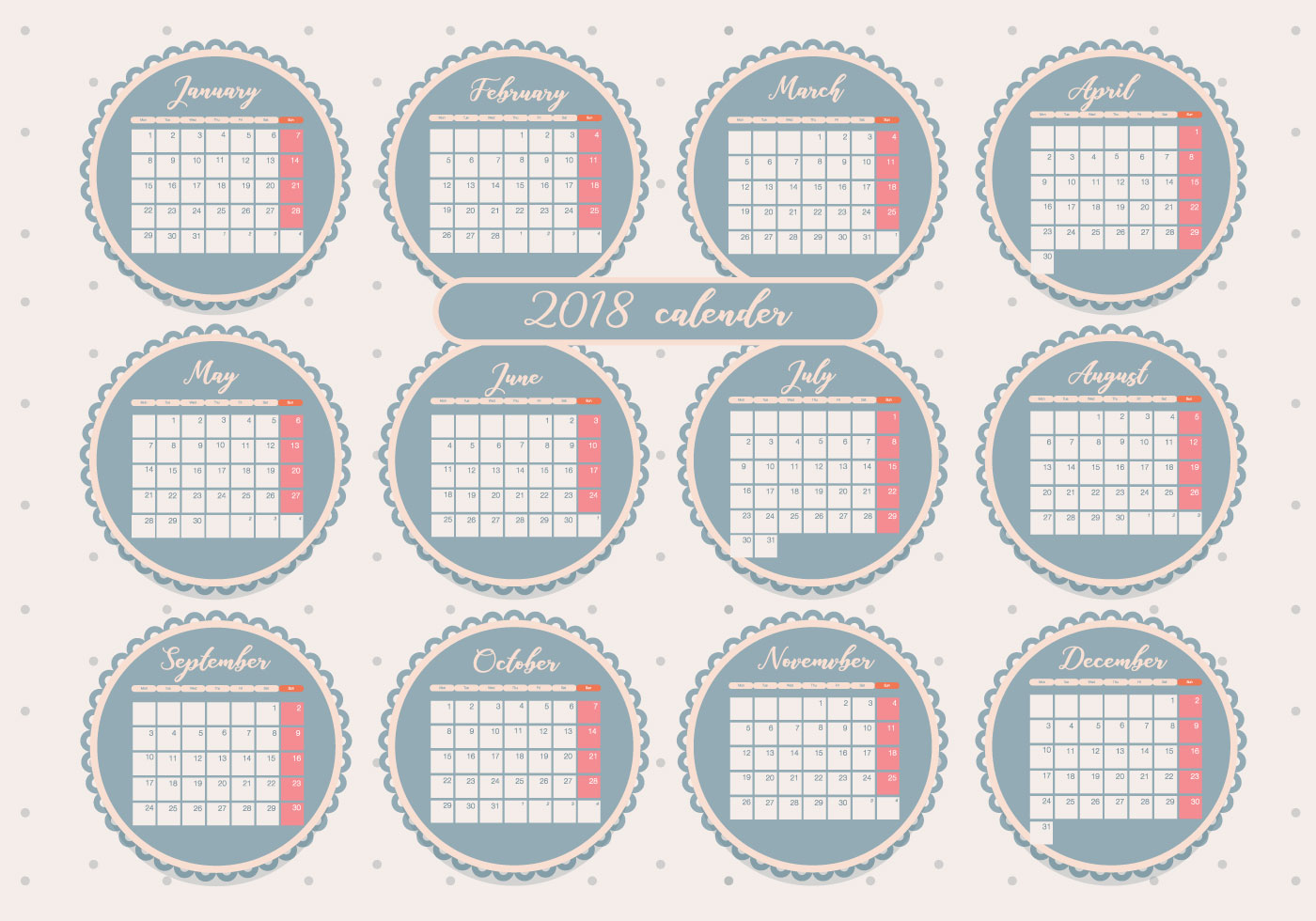 Weekly Calendar Vector : Printable monthly calendar vol vector download free