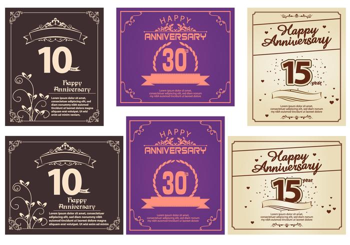 Happy Anniversary Greeting Card Vectors