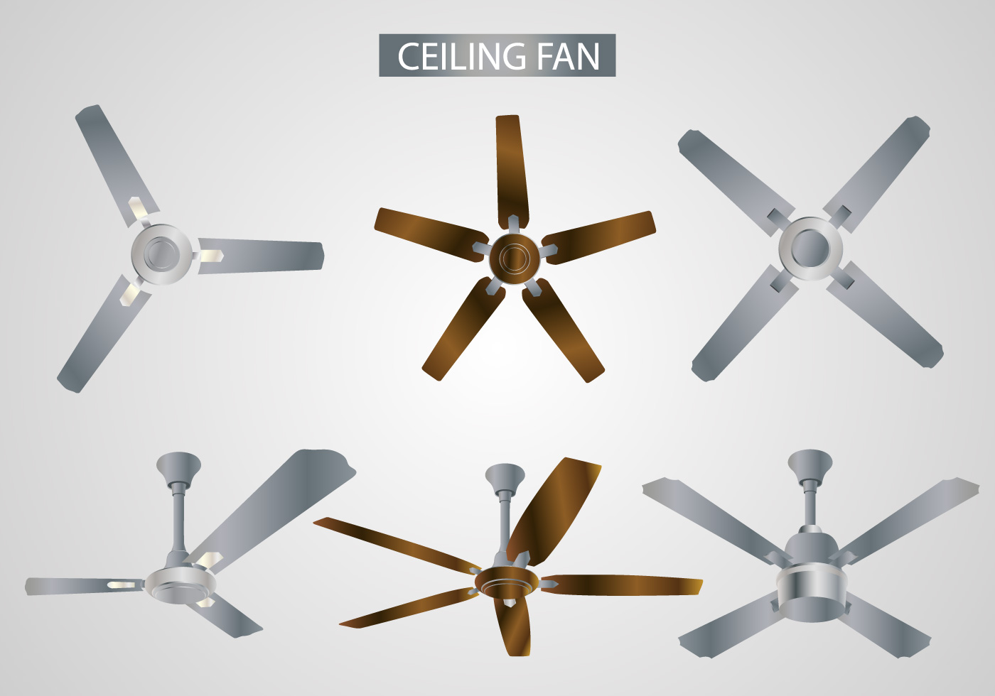 Realistic Ceiling Fan Vectors