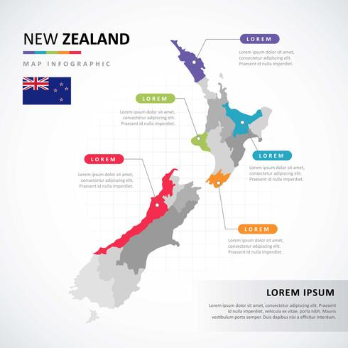 new zealand map infographic vektor