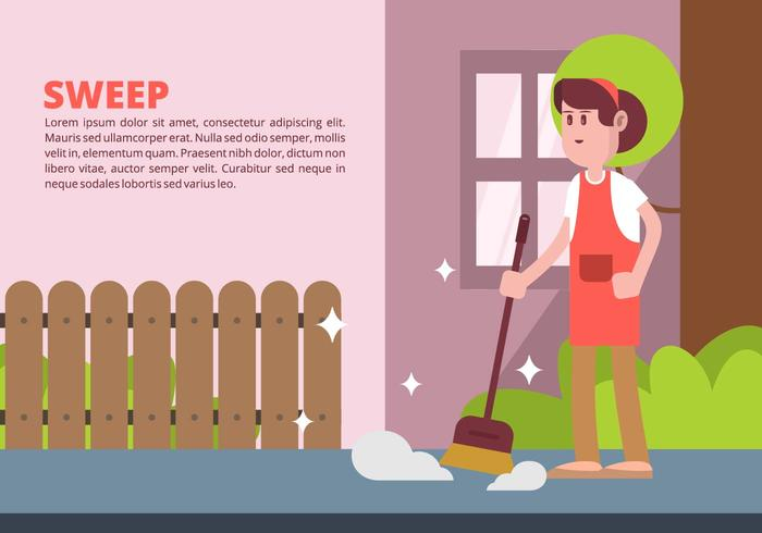 Woman Sweeping Illustration vector