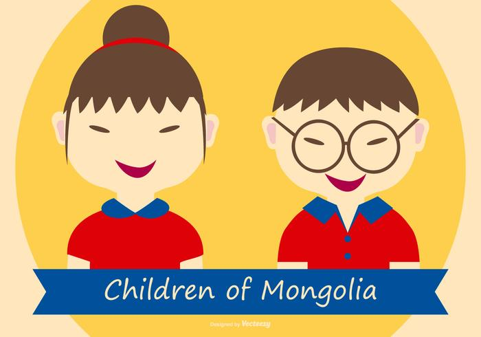 Cute Children of Mongolia Illustration