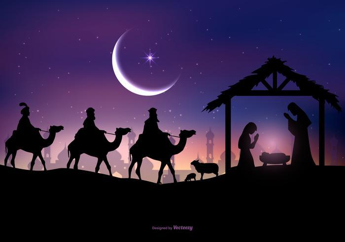 Three Wise Men Visit Jesus Illustration