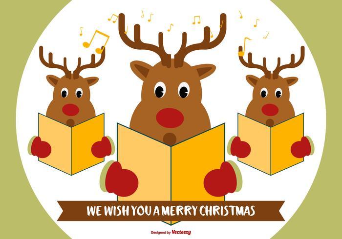 Cute Reindeer Christmas Carolers