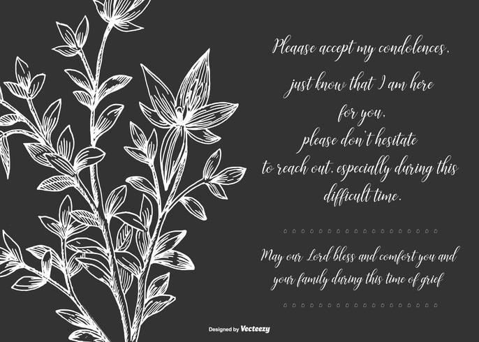 Black Floral Condolences Card