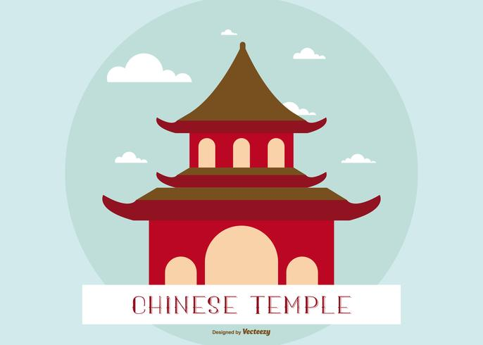 Flat Illustration of a Chinese Temple/Shrine