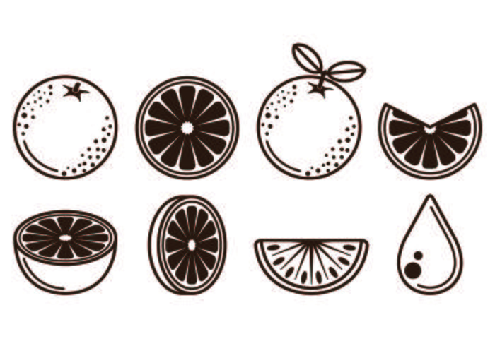 Set Of Clementine Fruit Icons