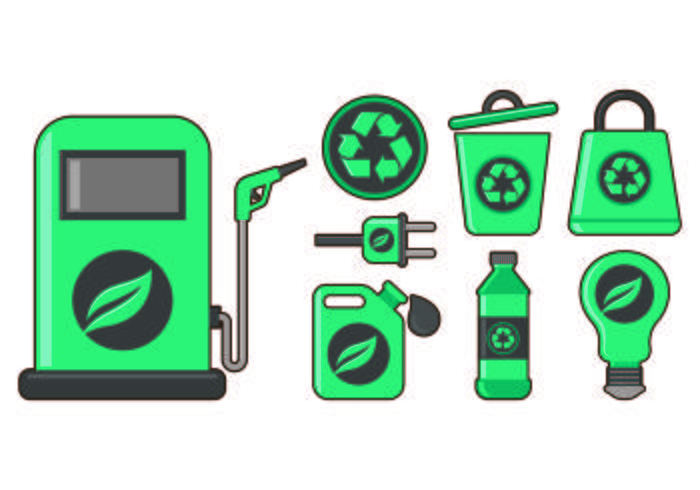 Set Of Biodegradable Icon